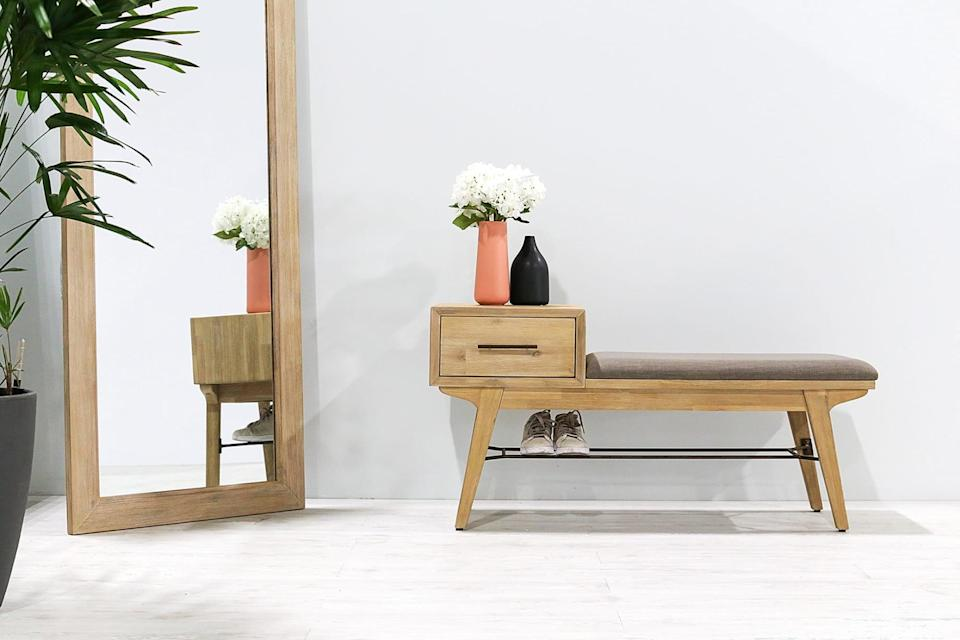 <p>The bottom shelf on this <span>Castlery Miles Entryway Bench</span> ($449) is handy to store shoes.</p>