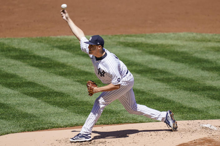 New York Yankees starting pitcher Jameson Taillon throws in the second inning of a baseball game against the Detroit Tigers, Saturday, May 1, 2021, in New York. (AP Photo/John Minchillo)