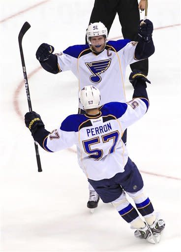 St. Louis Blues' David Backes (42) celebrates his goal against the Phoenix Coyotes with David Perron (57) during the third period of an NHL hockey game, Sunday, March 25, 2012, in Glendale, Ariz. The Blues won 4-0. (AP Photo/Ross D. Franklin)