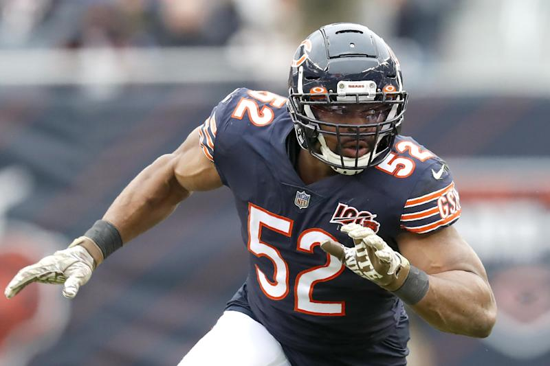Chicago Bears outside linebacker Khalil Mack starts his pass rush during the first half of an NFL football game against the Detroit Lions in Chicago, Sunday, Nov. 10, 2019. (AP Photo/Charles Rex Arbogast)