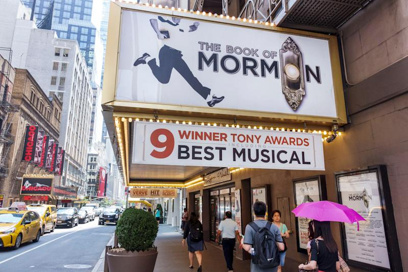 The Book of Mormon marquee at the entrance to the Eugene O'Neill Theatre. (Photo by: Jeffrey Greenberg/UIG via Getty Images)