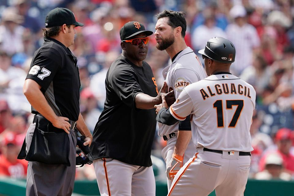 Giants first baseman Brandon Belt is among the players and managers calling out the umpires during a contentious week. (Photo by Patrick McDermott/Getty Images)