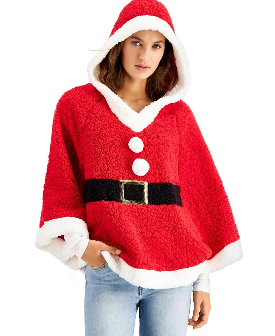 <p>Stay warm in cold weather when you wear this cozy <span>Hooked Up Faux-Sherpa Santa Poncho</span> ($25, originally $50).</p>