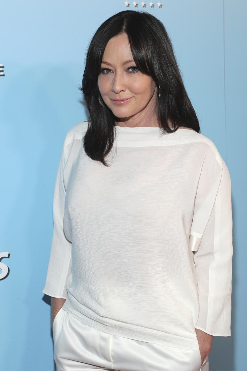 Shannen Doherty is seen at the 2019 American Humane Hero Dog Awards at The Beverly Hilton on Saturday, Oct. 5, 2019, in Beverly Hills, Calif. (Photo by John Salangsang/Invision for American Humane/AP Images)