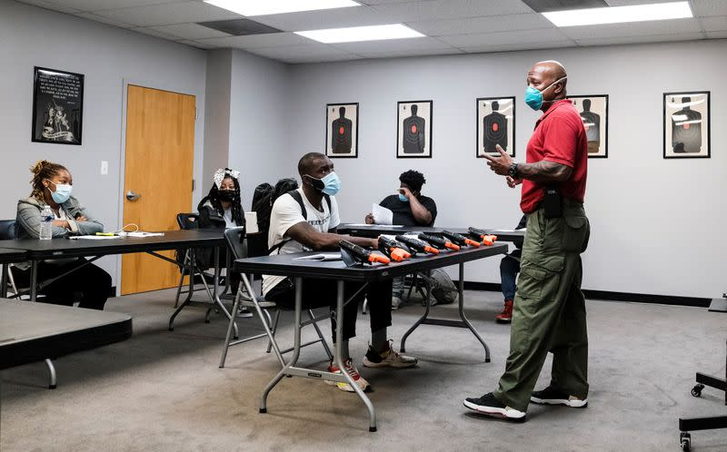Former police Corporal Michael Brown holds a training session on the use of force with special police recruits in Maryland