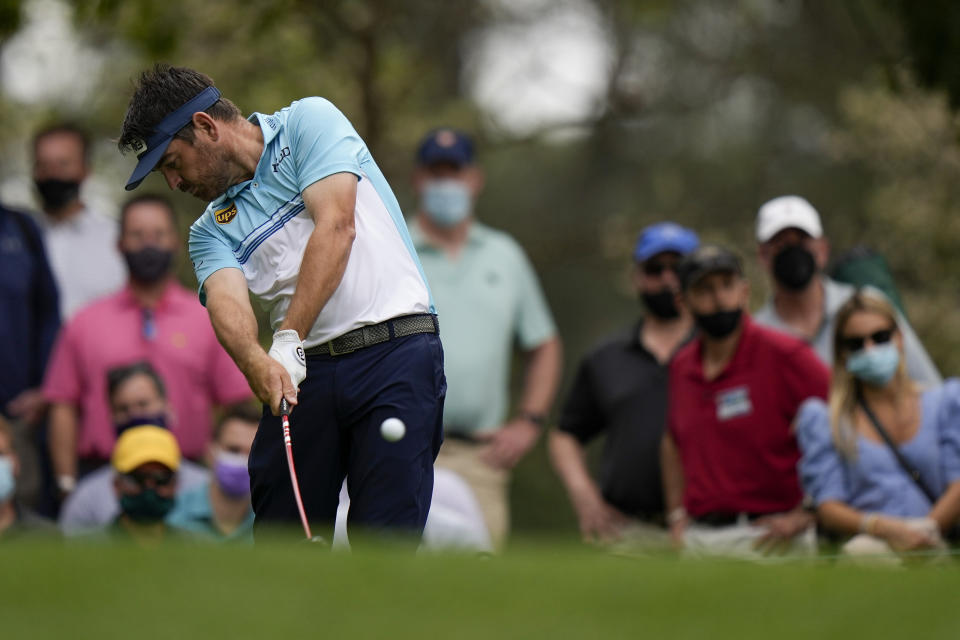 Louis Oosthuizen, of South Africa, tees off on the fourth hole during the second round of the Masters golf tournament on Friday, April 9, 2021, in Augusta, Ga. (AP Photo/Matt Slocum)