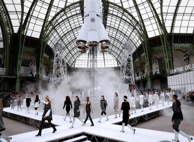 Models present creations by Chanel during the women's Fall-Winter 2017-2018 ready-to-wear collection fashion show at the Grand Palais in Paris