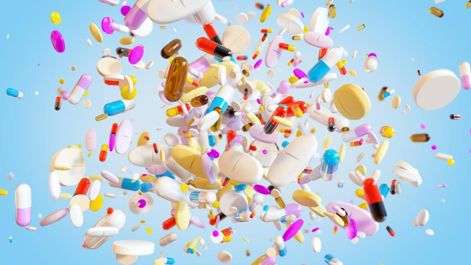 Group of Medical Pills explodes background (Photo: celafon via Getty Images)