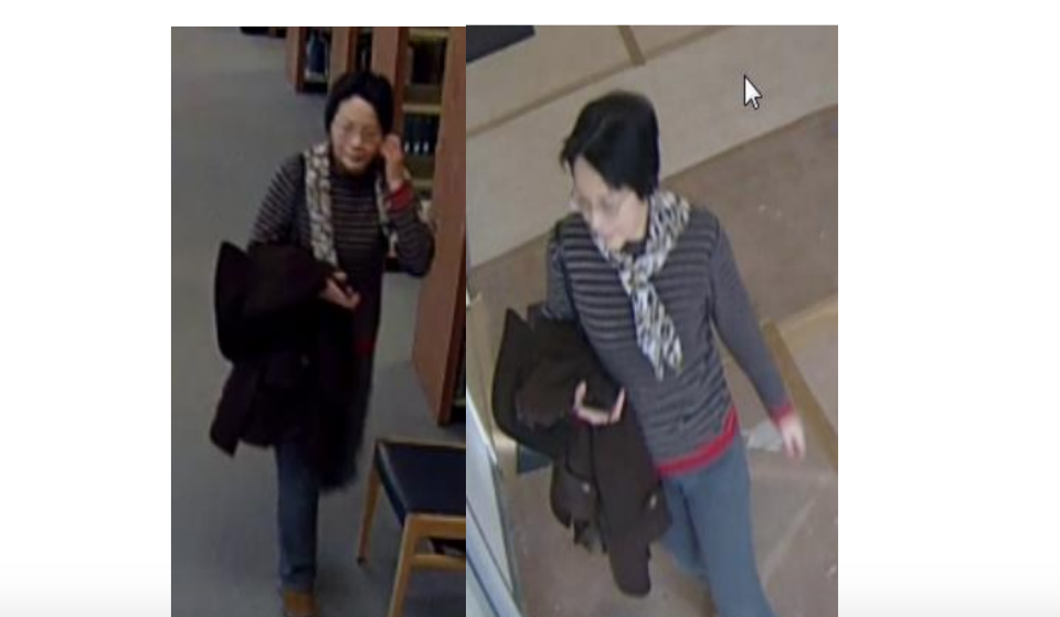 Towson University police in Maryland are searching for a mother in hot pursuit of a date for her son. (Photo: Towson University Police Department via screenshot)