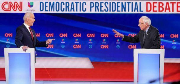 PHOTO: Democratic presidential candidates former Vice President Joe Biden and Sen. Bernie Sanders debate during the 11th Democratic candidates debate of the 2020 U.S. presidential campaign, held in CNN's Washington studios in Washington, March 15, 2020. (Kevin Lamarque/Reuters)