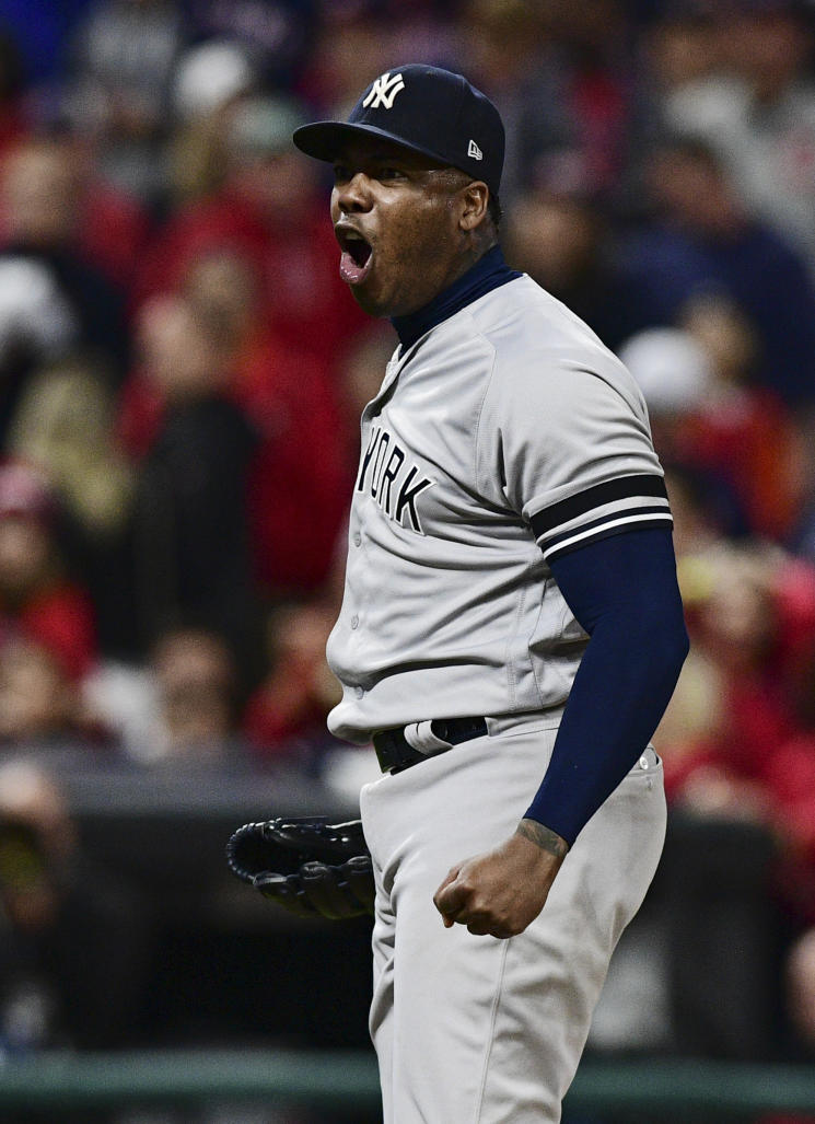 Closer Aroldis Chapman will remain the anchor of New York's dominant bullpen. (AP)