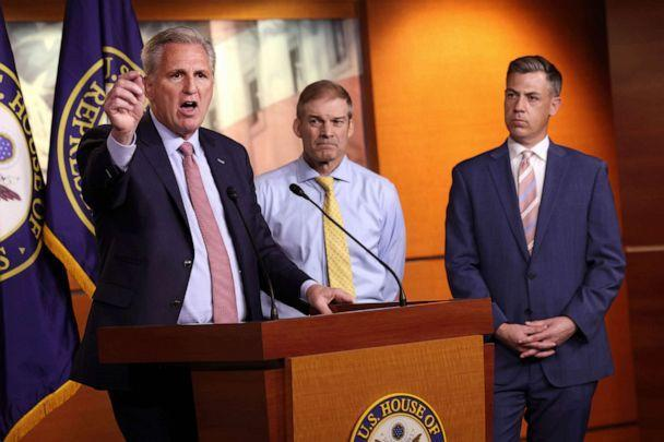 PHOTO: House Minority Leader Kevin McCarthy,joined by Rep. Jim Jordan and Rep. Jim Banks,  speaks a news conference in Washington, July 21, 2021. (Kevin Dietsch/Getty Images)