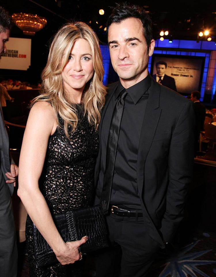 BEVERLY HILLS, CA - OCTOBER 14:  (EXCLUSIVE COVERAGE) Jennifer Aniston and Justin Theroux at American Cinematheque's 2011 Award Show Honoring Robert Downey Jr. at The Beverly Hilton Hotel on October 14, 2011 in Beverly Hills, California.  (Photo by Eric Charbonneau/WireImage)