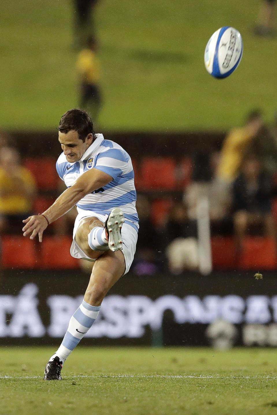 Argentina's Nicolas Sanchez, kicks a penalty during their Tri-Nations rugby union match against Australia in Newcastle, Australia, Saturday, Nov. 21, 2020. (AP Photo/Rick Rycroft)