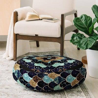<p>The <span>Monika Strigel Really Mermaid Mystic Blue Floor Pillow Blue</span> ($72) is a statement home decor piece that is super comfortable.</p>