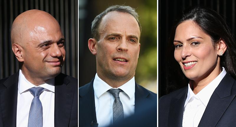 The three top Government jobs were given to Sajid Javid, Dominic Raab and Priti Patel