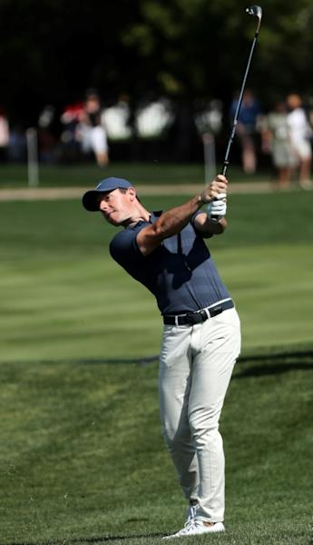 Rory McIlroy of Northern Ireland plays a shot during round two of the Abu Dhabi HSBC Golf Championship