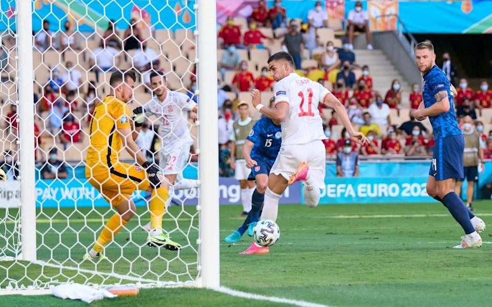Ferran Torres scores with his first touch of the game as Spain beat Slovakia 5-0 - GETTY IMAGES