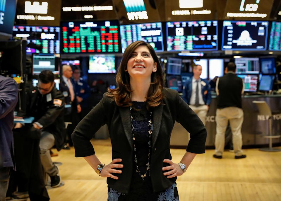 NYSE Chief Operating Officer Stacey Cunningham, who will be the New York Stock Exchange's (NYSE) first female president, poses on the floor of the NYSE in New York, U.S., May 22, 2018. REUTERS/Brendan McDermid