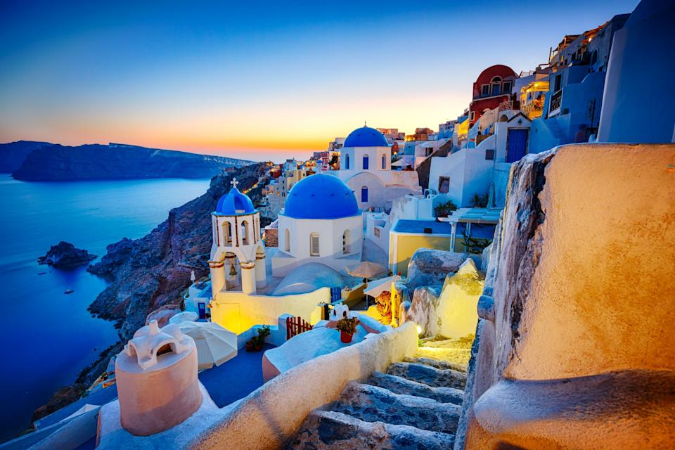 The blue domed churches of Oia in Santorini: istock
