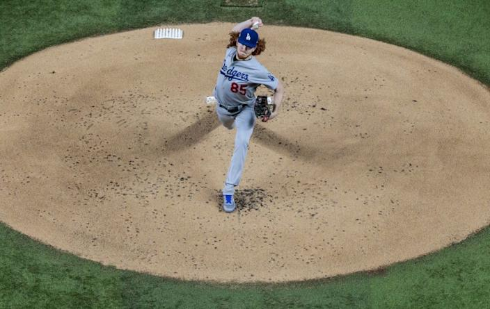 Arlington, Texas, Friday, October 16, 2020. Los Angeles Dodgers starting pitcher Dustin May.
