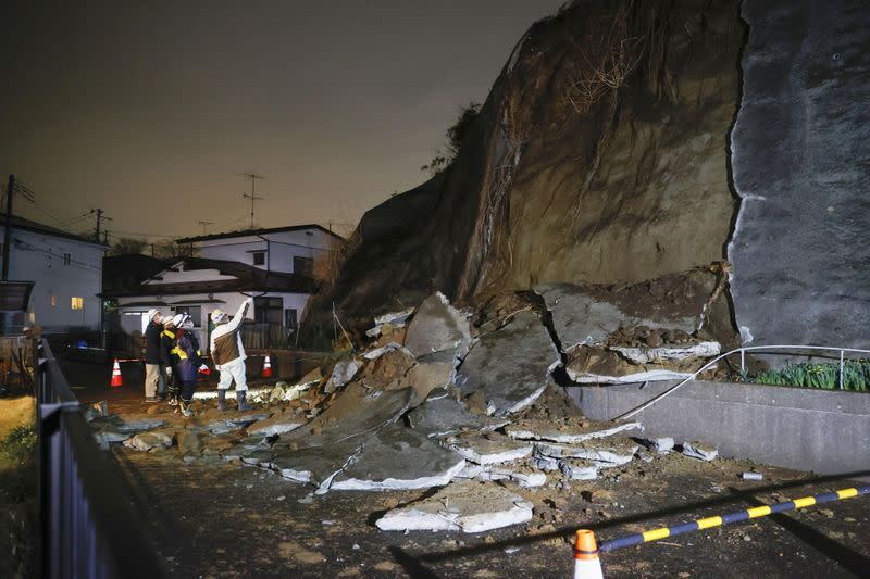 A part of a cliff which collapsed due to an earthquake is pictured in Shiogama