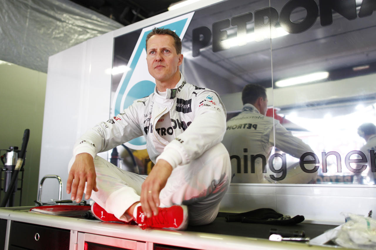 BARCELONA, SPAIN - MAY 13:  Michael Schumacher of Germany and Mercedes GP prepares to drive during the Spanish Formula One Grand Prix at the Circuit de Catalunya on May 13, 2012 in Barcelona, Spain.  (Photo by Hoch Zwei/Getty Images)