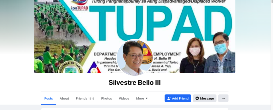 This FB account matches the description of the page that Bello tagged as being part of a plot to 'besmirch [his] name'