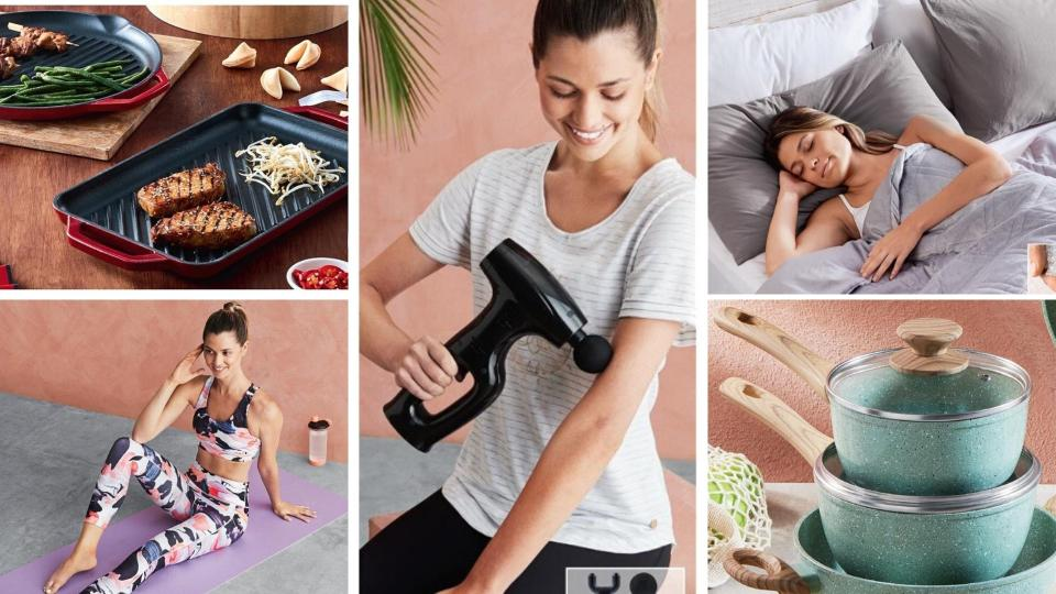 Kitchen appliances, fitness gun, bedding, saucepans and activewear on sale as Special Buys at Aldi.