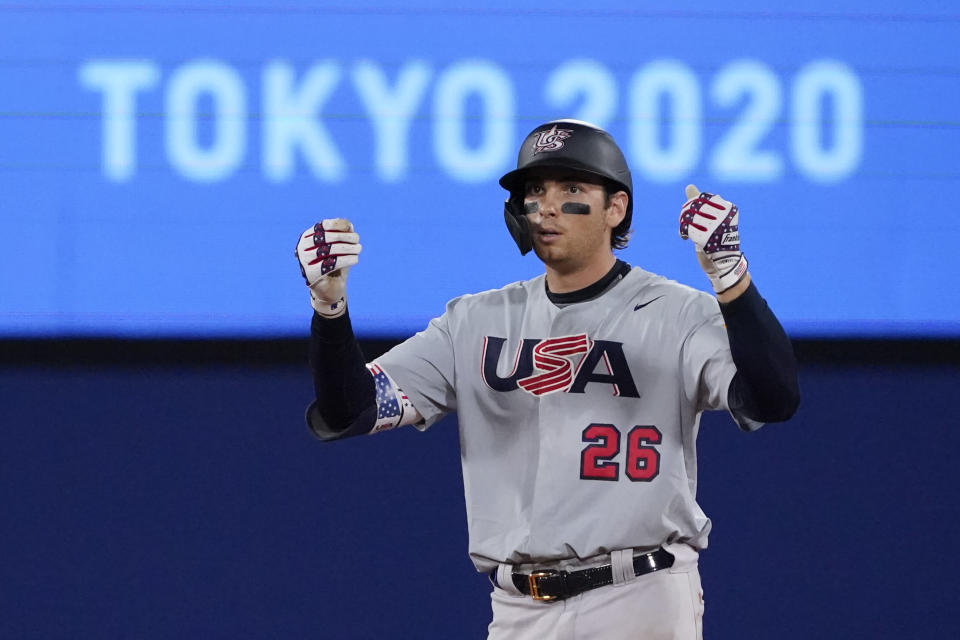 United States' Triston Casas gestures after hitting a double in the seventh inning of a baseball game against Japan at the 2020 Summer Olympics, Monday, Aug. 2, 2021, in Yokohama, Japan. (AP Photo/Sue Ogrocki)
