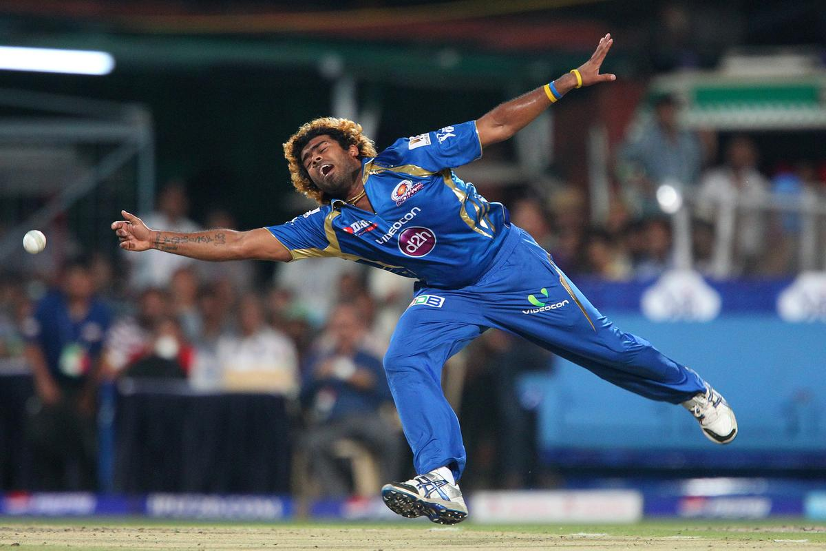 Lasith Malinga tries for a caught and bold from Gautam Gambhir during match 33 of the Pepsi Indian Premier League between The Kolkata Knight Riders and the Mumbai Indians held at the Eden Gardens Stadium in Kolkata on the 24th April 2013. (BCCI)