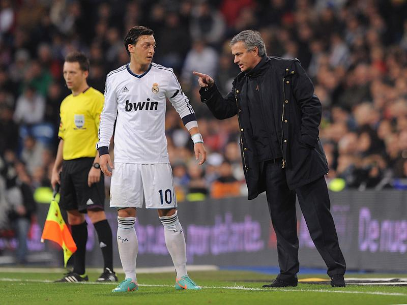 Ozil and Mourinho together at Madrid in 2012: Getty