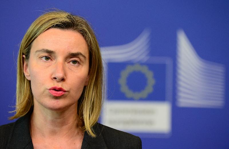 EU foreign policy chief Federica Mogherini speaks during a press conference on May 27, 2015, at EU headquarters in Brussels