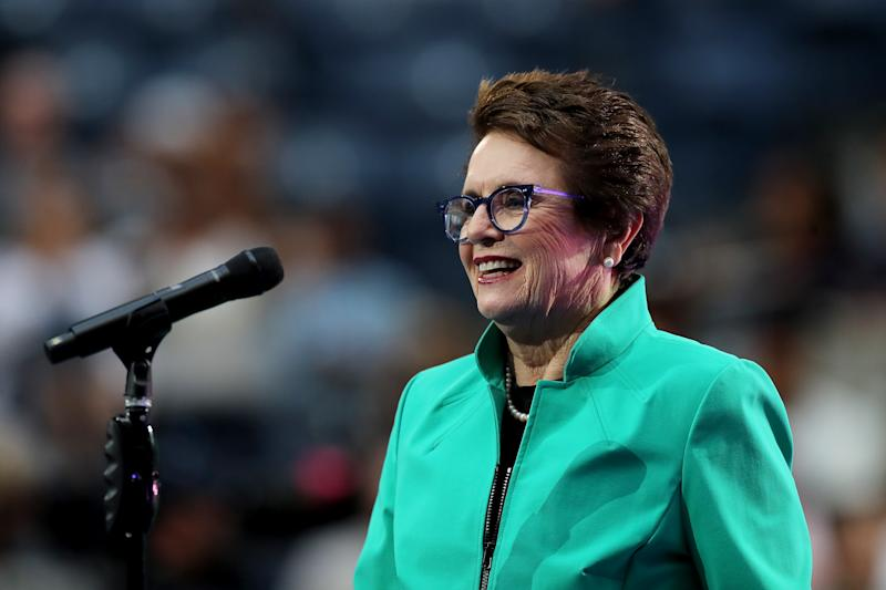 Billie Jean King speaks at opening night of the 2019 US Open.