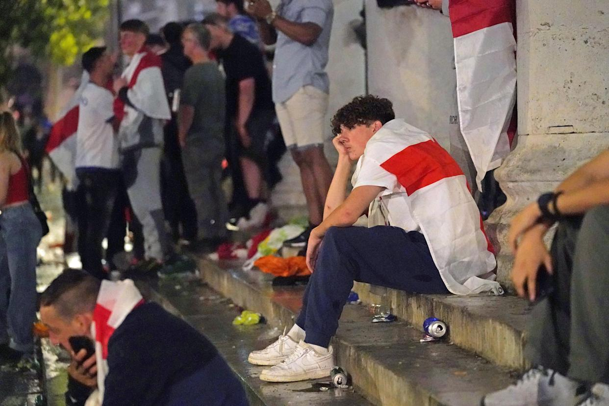 A dejected fan in London's Trafalgar Square after Italy won the UEFA Euro 2020 Final against England when the game was decided on penalties. Picture date: Sunday July 11, 2021.
