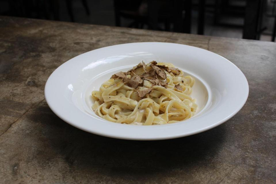 An Italian classic, the homemade Tagliatelle ($36), served with Alba black hair truffle and a light cream parmesan cheese sauce. (Photo: Yahoo Singapore)