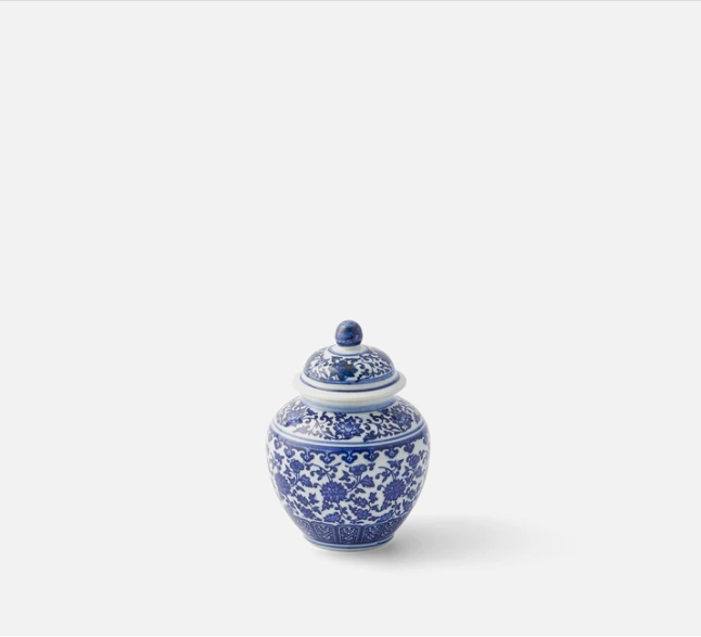 "This chintzy ginger jar is on the lighter side colour-wise but it's perfect for storing your chaotic trinkets.<br><br><strong>The Nine Schools</strong> Small Blue and White Ginger Jar, $, available at <a href=""https://thenineschools.co.uk/collections/ceramics/products/small-blue-and-white-ginger-jar"" rel=""nofollow noopener"" target=""_blank"" data-ylk=""slk:The Nine Schools"" class=""link rapid-noclick-resp"">The Nine Schools</a>"