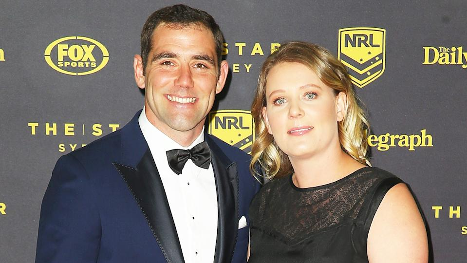 Cameron Smith and Barbara Smith smile for a photo at the 2015 Dally M Awards at Star City.