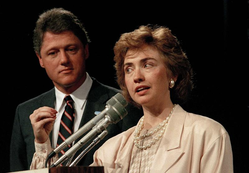 First lady of Arkansas Hillary Rodham Clinton speaks at a conference in 1987 in Little Rock, Ark., as then-Gov. Bill Clinton looks on. (Photo: AP)