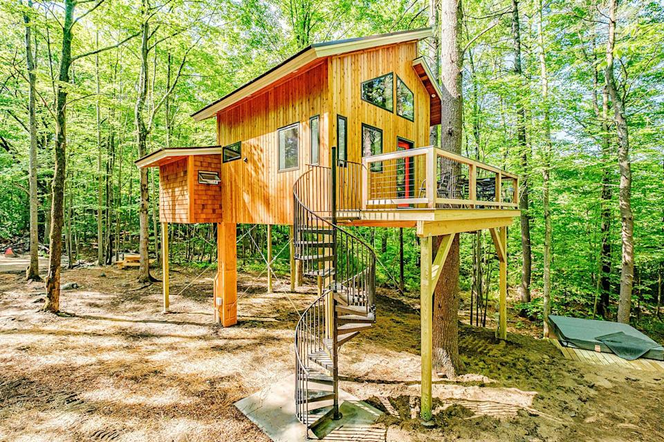 """<p>airbnb.com</p><p><strong>$425.00</strong></p><p><a href=""""https://www.airbnb.com/rooms/41341525"""" rel=""""nofollow noopener"""" target=""""_blank"""" data-ylk=""""slk:BOOK NOW"""" class=""""link rapid-noclick-resp"""">BOOK NOW</a></p><p>Billed as a carbon-free stay, this Sanford treehouse was made entirely of recycled and repurposed materials and runs completely on renewable energy sources. </p>"""