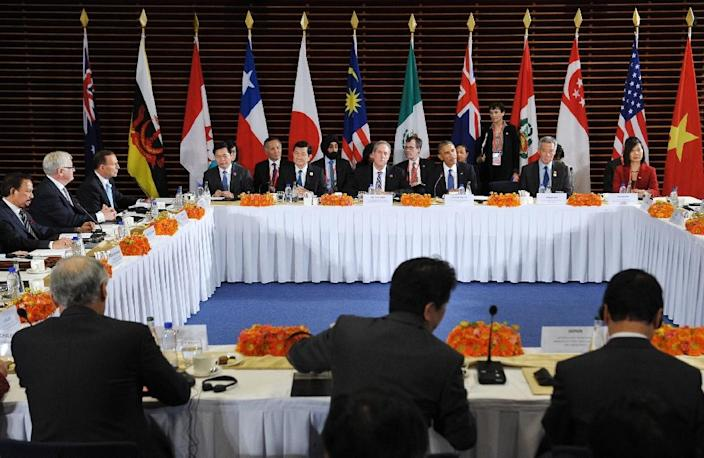 US President Barack Obama (3rd R) taking part in a meeting with leaders from the Trans-Pacific Partnership (TPP) at the US Embassy in Beijing in 2014 (AFP Photo/Mandel Ngan)