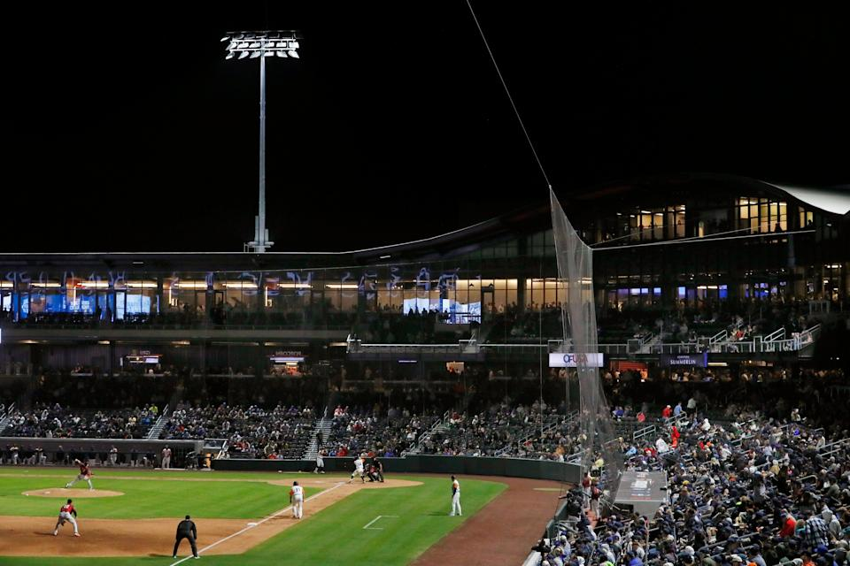 LAS VEGAS, NV - APRIL 09: General view of the field during a regular season game between the Sacramento River Cats and the Las Vegas Aviators on April 9, 2019 at Las Vegas Ballpark in Las Vegas, Nevada. (Photo by Jeff Speer/Icon Sportswire via Getty Images)