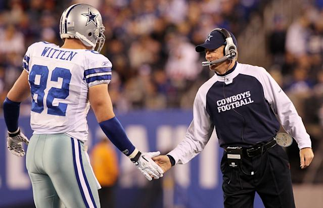 Jason Garrett has tried to lure Jason Witten back to the Cowboys, to no avail. (Getty)