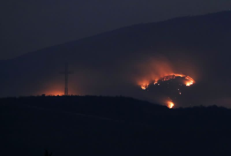 Forest set on fire caused by shelling during a military conflict over the breakaway region of Nagorno-Karabakh, is seen outside Stepanakert