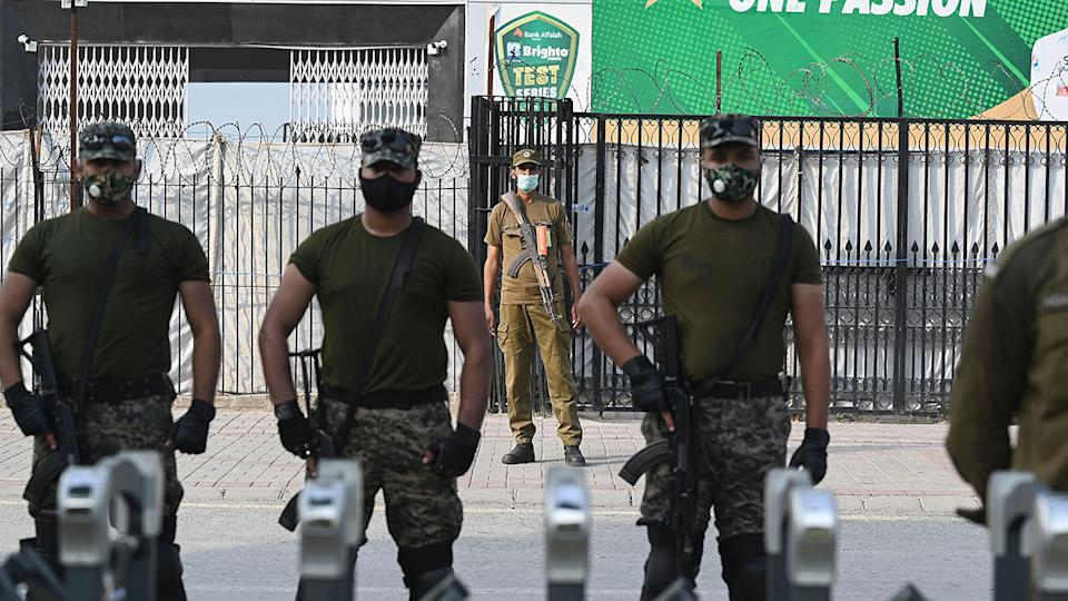 Paramilitary soldiers, pictured here standing guard outside the Rawalpindi Cricket Stadium.