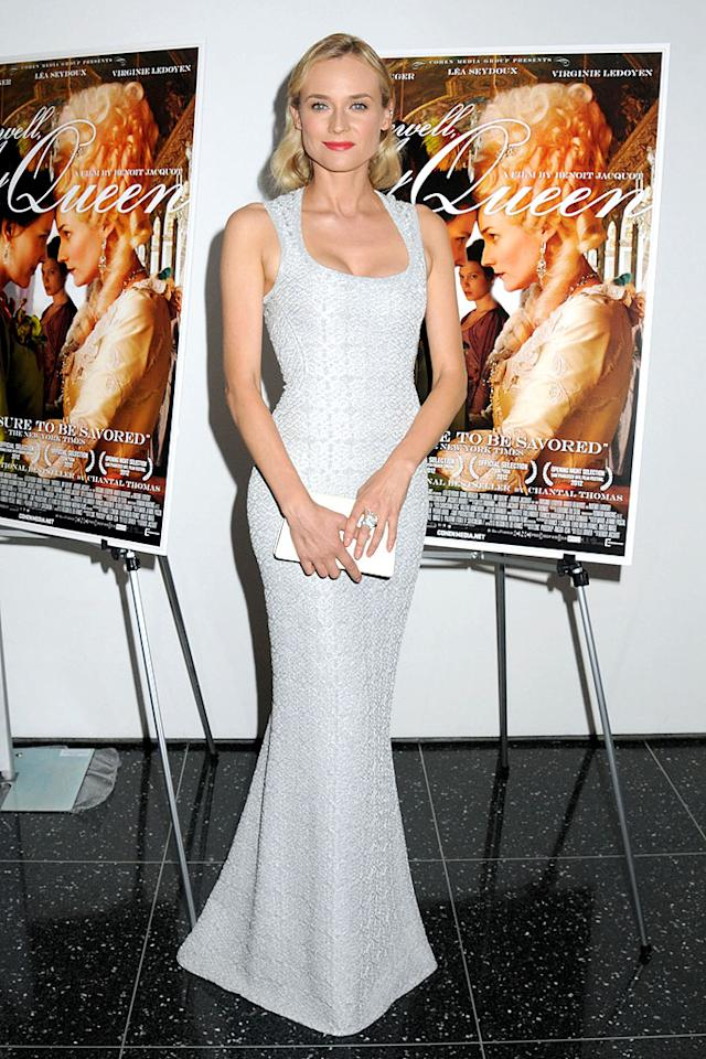 "And last but not least we have the beloved Diane Kruger (""Inglourious Basterds""), who oozed elegance (as she always does!) at the New York screening of her new film, ""Farewell, My Queen,"" in this Azzedine Alaia dress. How amazing does that scoop neckline look on her? What about that enormous diamond cocktail ring? Even better! (7/9/2012)<br><br><a target=""_blank"" href=""http://bit.ly/lifeontheMlist"">Follow 2 Hot 2 Handle creator, Matt Whitfield, on Twitter!</a>"