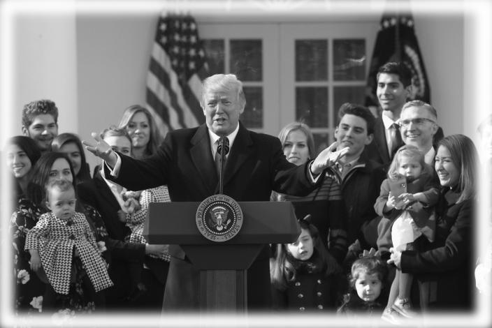 President Donald Trump addresses the annual March for Life rally, taking place on the National Mall, from the White House Rose Garden in Washington, U.S., January 19, 2018. (Photo: Kevin Lamarque/Reuters; digitally enhanced by Yahoo News)
