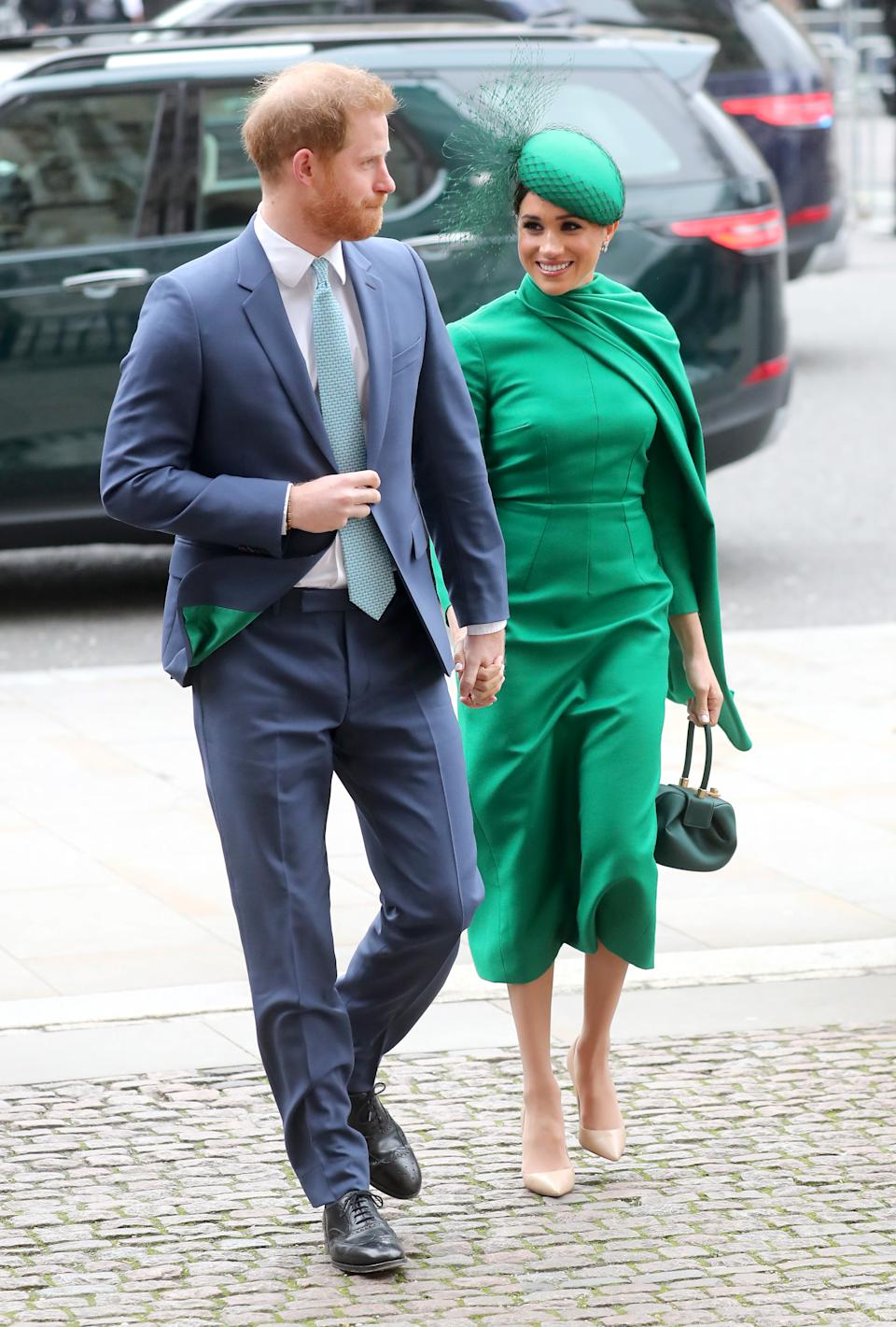 The Duke and Duchess of Sussex arrive for the annual Commonwealth Day Service 2020 at Westminster Abbey. (Getty Images)