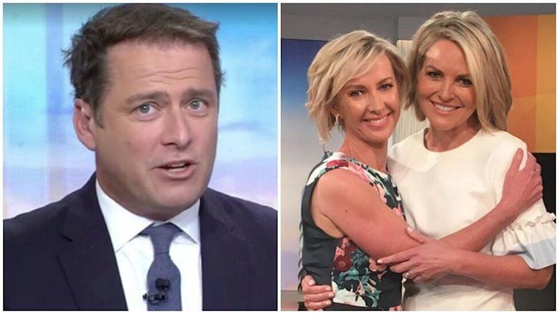 Karl Stefanovic pictured left, and new Today show hosts Georgie Gardener and Deborah Knight pictured right