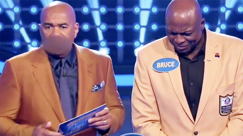 Bruce Smith, pictured here after his X-Rated Family Feud answer.